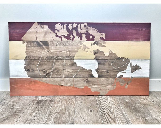 FREE SHIPPING | Rustic Wood Canada Map, Rustic Decor, Farmhouse Decor, Nursery Decor, Wall Decor, Wooden Office Wall Art Decor, Office Art