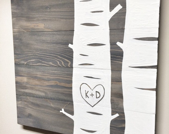 Rustic Wood Anniversary Gift Sign, Personalized Gift for Her, Birch Tree with Initials on Wood, Best Valentines Gift, Heart with Initials