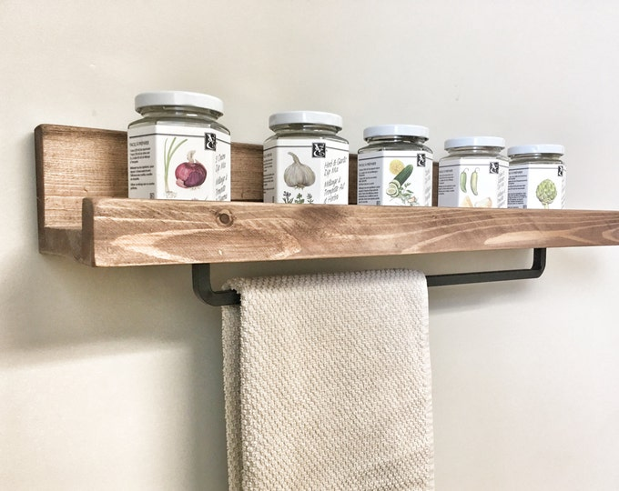 Spice Rack with Dishcloth Hanger for Kitchen, Floating Wall Shelf with Towel Bar