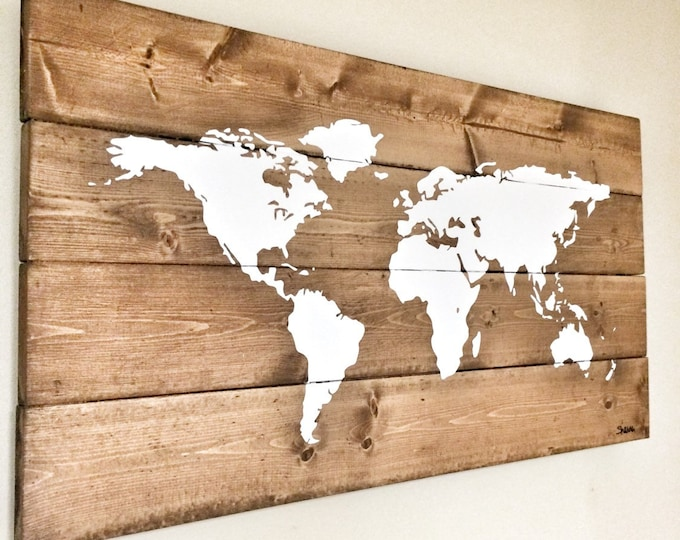 Map of the World Map Wooden Travel Pin Map Rustic Home Wood Wall Art Anniversary Gift for Husband Wife House Design Christmas Rustic Decor