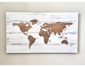Rustic Wood World Map, Rustic Decor, Farmhouse Decor, Rustic Nursery Decor, Wall Decor, Wooden White World Map - 34 x 20 Anniversary gift