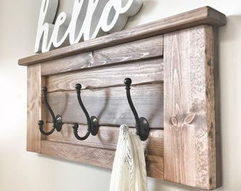Large Rustic Wooden Entryway Coat Rack Hooks, Wall Home Decor, Wood Furniture, Floating Wood Shelf Storage, Mudroom Organization House Gift