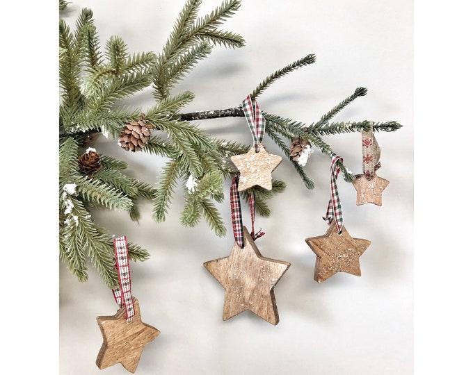 Set of 5 Tree Decorations, Christmas Tree ornaments, Rustic Wood Holiday Decor, X-mas Tree Decoration, Glitter Wooden Stars With Ribbon