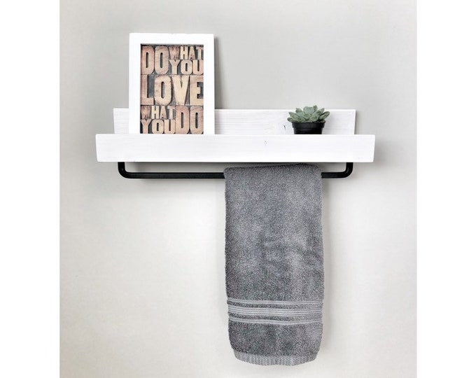 "18"" White Floating Shelf for Bathroom Storage and to Hang Towels, Shelf with Towel Bar, Rustic Farmhouse Shelf"