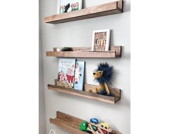 Set of 4, Gallery Wall Shelf, Nursery Shelf, Picture Ledge Shelf, Wooden Shelves, Rustic Kitchen Shelves, Bookshelves, Set of Floating Shelf