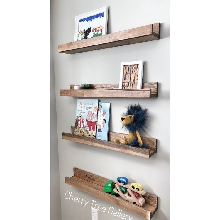 CHERRY WOODEN LONG PICTURE LEDGE FLOATING SHELF 36/""
