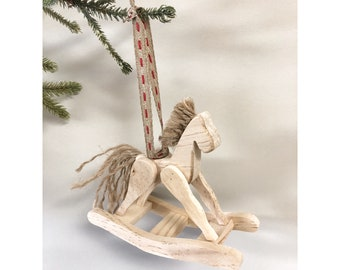 Wooden Christmas Tree Ornament, Rocking Horse Ornament, Wood Horse Ornament, Unique Tree Decoration, Stocking Decoration, Wood Rocking Horse