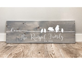 Gift for Wife, Gift for Her, Wooden Family Sign, Family of Birds with Last Name, Personalised gift, Anniversary Gift, Mother's Day Gift