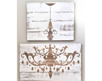 Huge Distressed White Wood Chandelier, Rustic Decor, Farmhouse Decor, Dinning Living Room Wall Decor, Wall Art for Dining Room, Wall Hanging