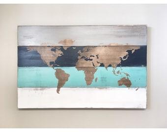 Rustic Wood World Map, Blue White Grey World Map, Farmhouse Home Decor, Nursery Wall Decor, Office Travel Map, Gift for Nursery