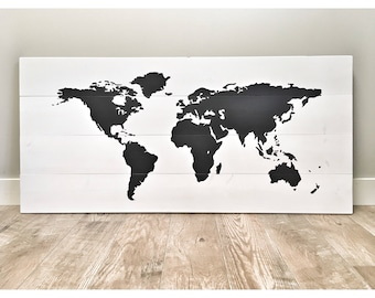 Huge Rustic Wood World Map Home Decor, Farmhouse Living Room Decor, Rustic Nursery Decor Wall Decor, World Traveler