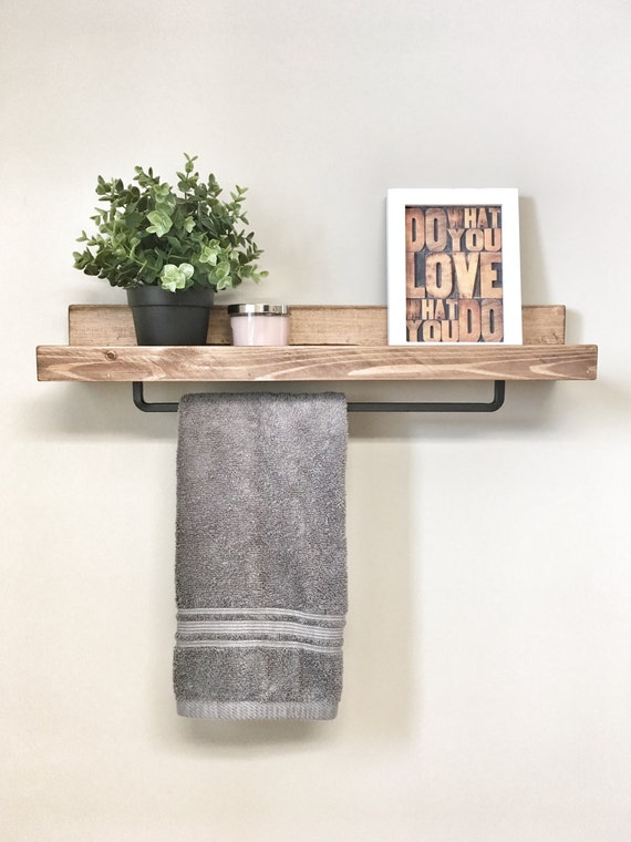 Free Shipping 18 Floating Shelf For Bathroom Storage And To Hang Towels Shelf With Towel Bar Rustic Farmhouse Shelf