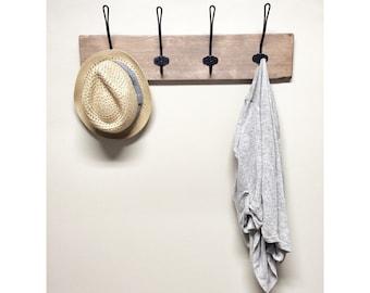 Rustic Barnwood Entryway Coat Hook Hanger with Hooks, Four Hook Coat Rack for Entryway or Mudroom, Wall Hanging Towel Rack for Bathroom