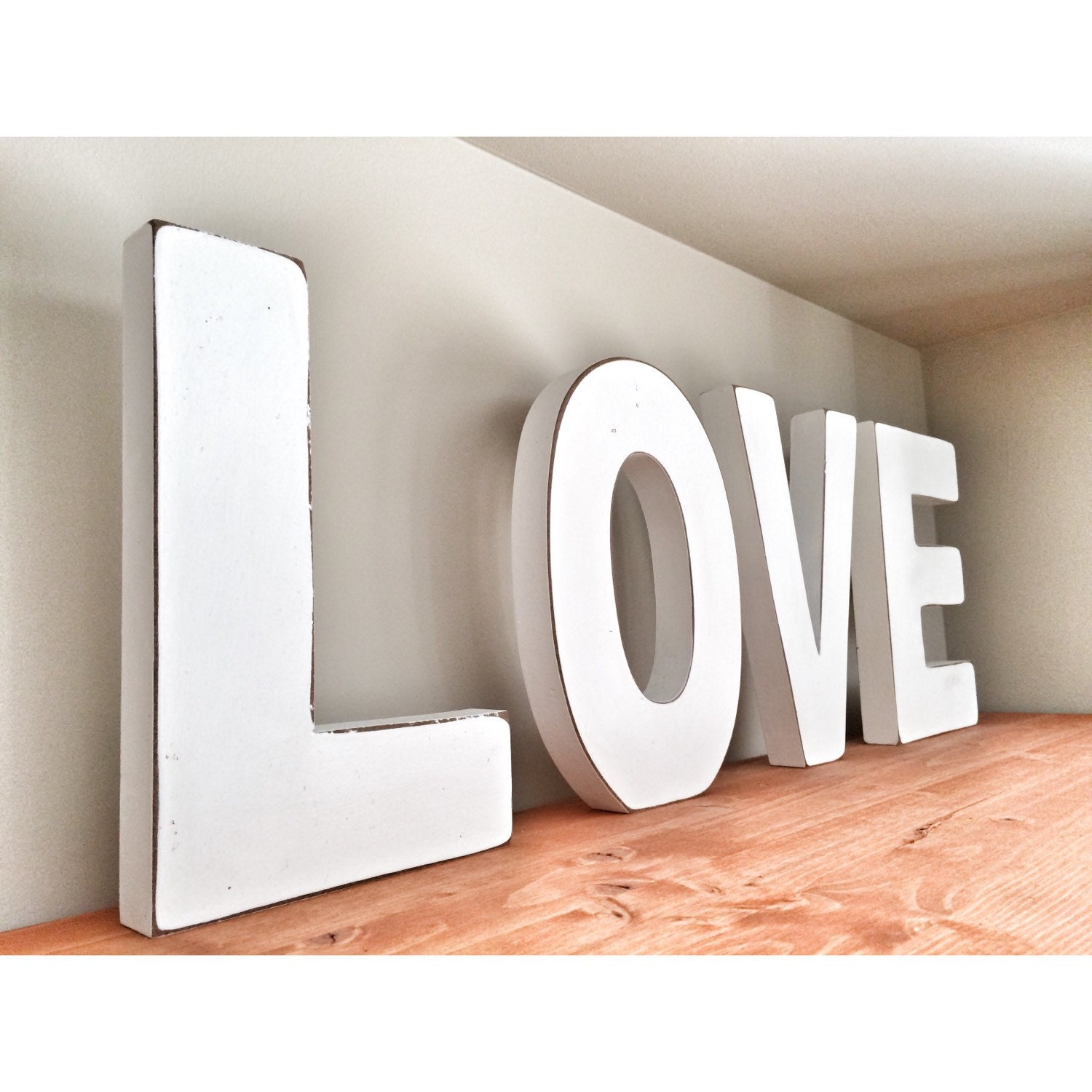 White Love Capital Letters Large 9 By 6 Distressed Wood Love