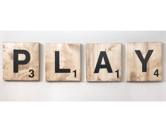 FREE SHIPPING | Giant PLAY Scrabble Tile Letters, Jumbo Wooden Kids Tile Wall Art, Large Words for Playroom Nursery, Family Room, Wood tiles