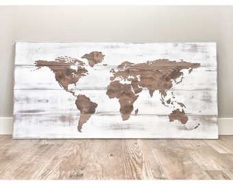 Huge World Map, Rustic Wood Decor, Travel World Map, Push Pin Travel Map, World Globe, Farmhouse Wall Decor, Large World Map, Distressed Map