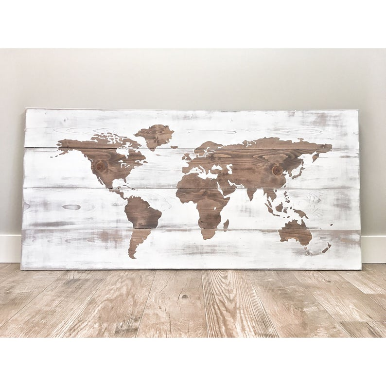 Huge World Map Rustic Wood Decor Travel World Map Push Pin Etsy