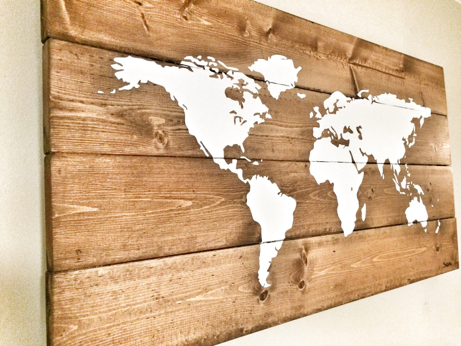 Map of the World Map Wooden Travel Pin Map Rustic Home Wood ...