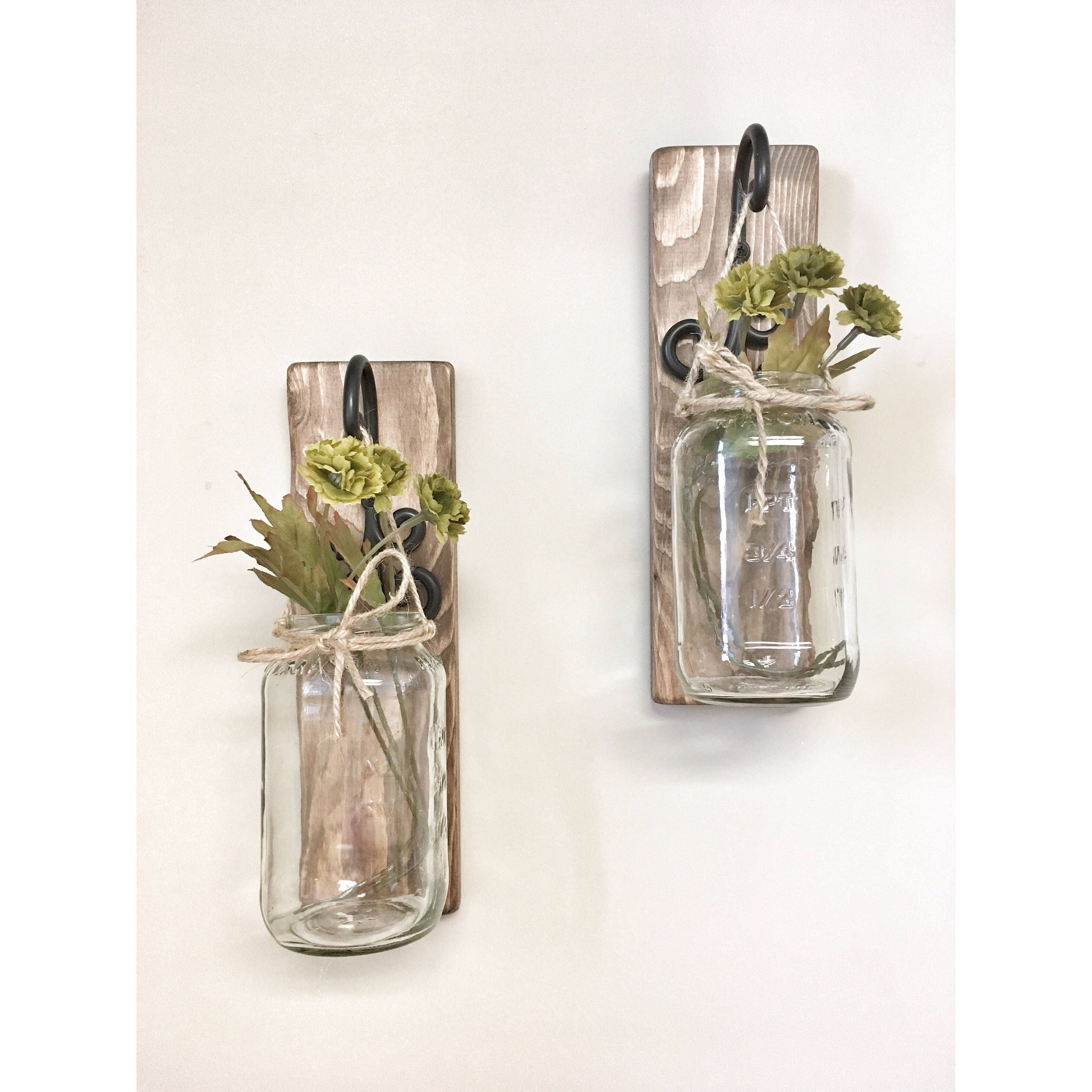 Skyrim Wall Sconces Not Working: Rustic Set Of Two Mason Jar Wall Sconces Country Decor