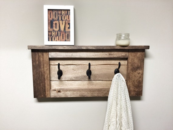 Rustic Wooden Entryway Walnut Coat Rack Entryway Coat Rack Etsy Magnificent Leigh Wall Mounted Coat Rack