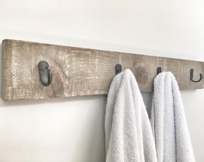 Rustic Wooden Towel Rack, Entryway Walnut Coat Rack, Rustic Wooden Barnwood Entryway Rack, Coat Rack, Rustic Home Decor, Bathroom Towel Bar