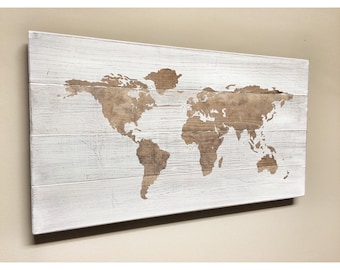 Rustic Wood World Map, Rustic Decor, Farmhouse Decor, Distressed World Travel Map, Push Pin Map, Wall Decor Sign, Wooden World Map