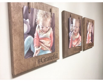 3 Piece Set of Wooden Personalized Photo Holder, Personalized Gift, Wood Picture Clothespin Frames, Clothespin Photo Display, Rustic Decor