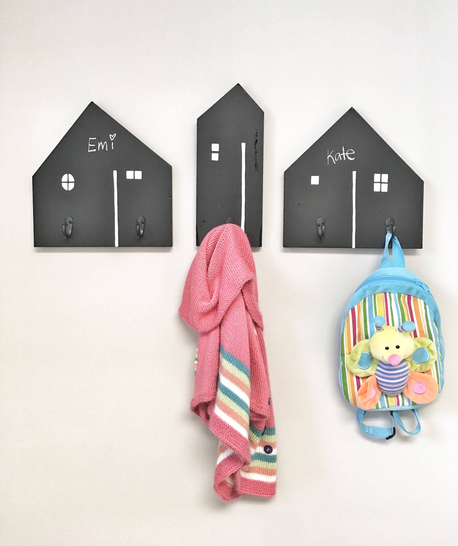 Chalkboard Wood House Hooks Coat Rack Home Decor Kids Nursery Hooks Kids Room Decor Wall Hooks For Kids Kids Playroom Costume Hangers