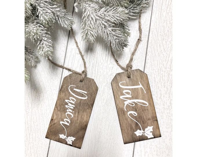 Personalised Christmas Stocking Name Tags, Personalized Gift Tags, Personalized Stocking Name Tags, Tree Ornament, Wood Name Gift Tags