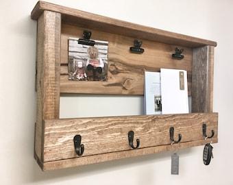 Wooden Key Chain Rack, Wall Mail Holder, Key Chain Holder, Wall Storage, Mudroom Storage, Key Mail Holder, Wooden Storage Organization