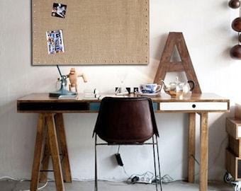 Large Burlap Memo PIN Board, Bulletin Board, Hardwood Construction, Brass Button Pin Tacks, Office Wall Notes Decor, Wall Cork Message Board