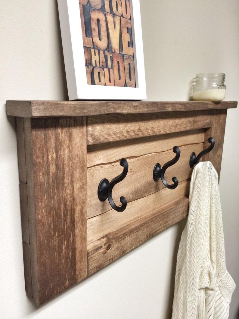 Rustic Wooden Entryway Walnut Coat Rack Entryway Coat Rack image 0