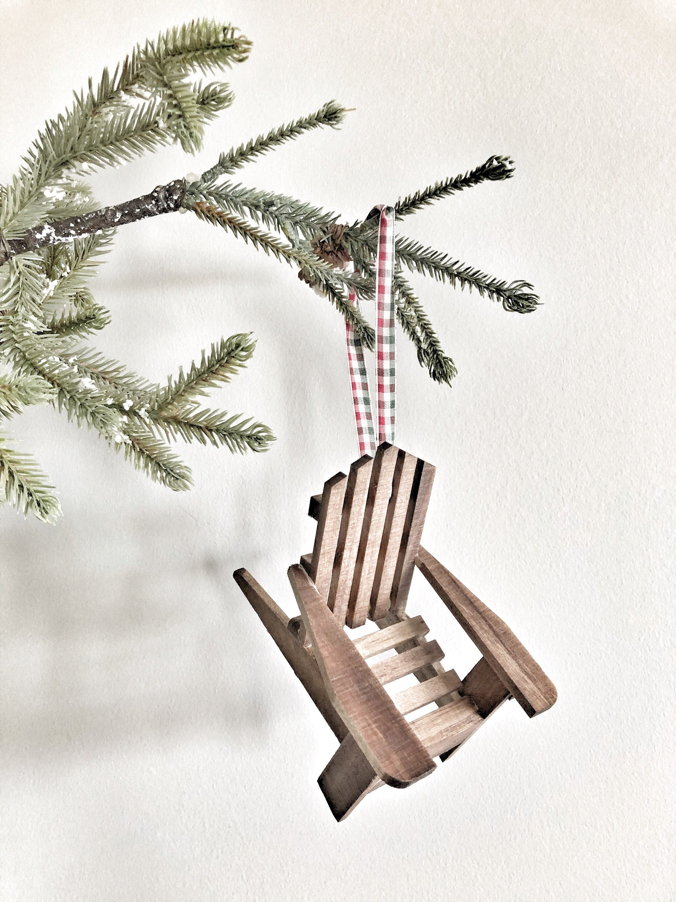Wooden Christmas Tree Ornament Adirondack Chair Ornament Mini Wood Chair Ornament Cabin Tree Decoration Stocking Decoration Cabin Chair