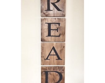 Giant Jumbo READ sign, Wooden Tile Letter Sign, Playroom decor, kids library nursery wall decor, wood art sign, school classroom letters