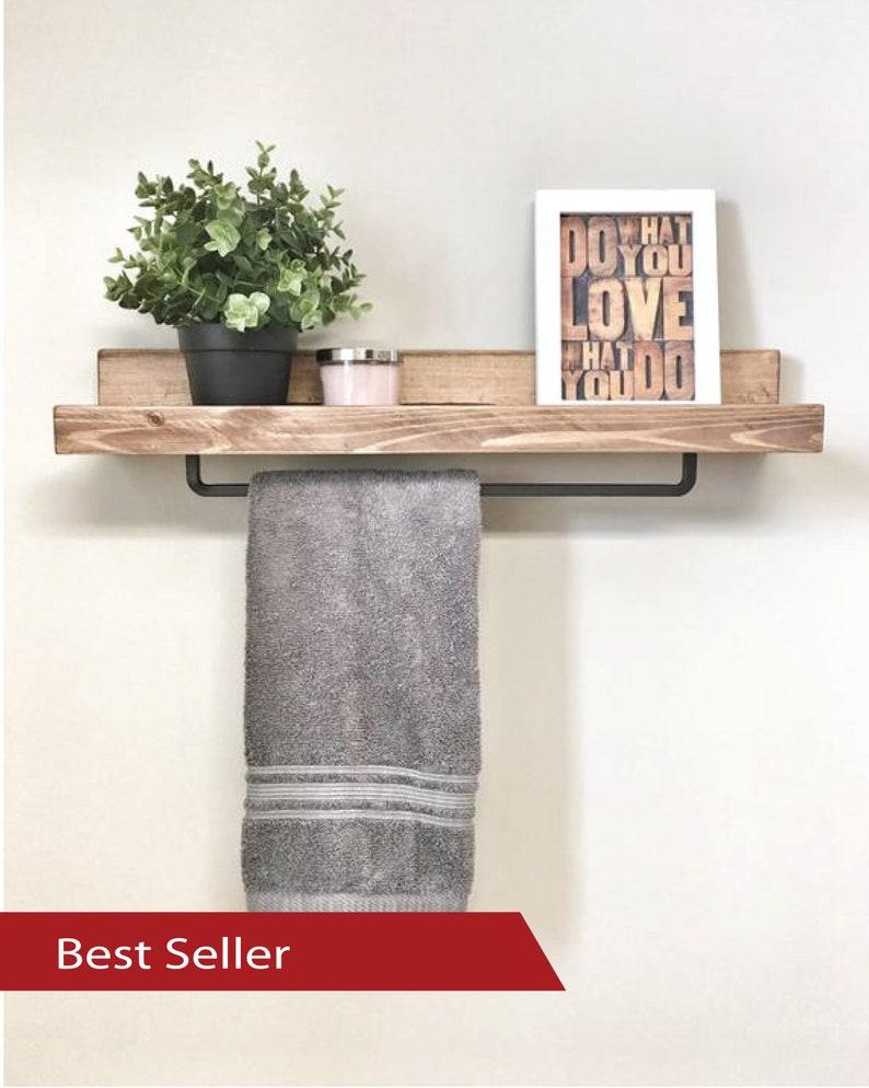 cb15ba41332 24 inch Rustic Wood Towel Rack Shelf Ledge Shelves Wooden