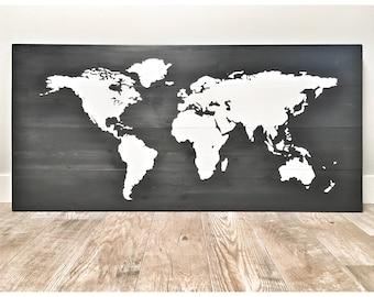 Huge Large Rustic Wood Black World Map, Rustic Decor, Farmhouse Decor, Rustic Nursery Office Decor, Wall Decor, Anniversary Christmas Gift