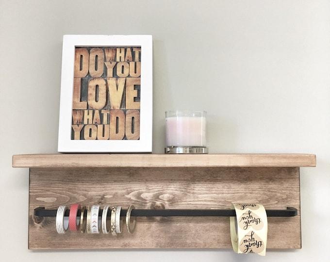 Rustic Wooden Rack Ledge Shelf, Ledge Shelf, Wooden Rack, Rustic Home Decor, Towel Rack Shelf, Bathroom Rack, Farmhouse Decor craft storage