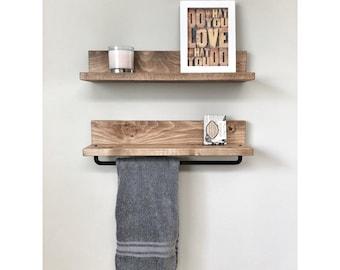 Rustic Wooden Towel Rack for Bathroom Wall, Towel Rack Shelf, Bathroom Rack, Towel Hanger Storage, Towel Bar Ledge Shelf, Pipe Towel Rack