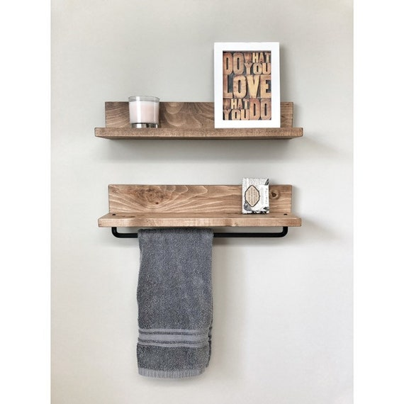 Rustic Wooden Towel Rack For Bathroom Wall Towel Rack Shelf Etsy