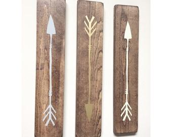 Rustic Grey, Gold, Lime Green Wooden Arrows - 3 Piece Set, Rustic Decor, Farmhouse Decor, Arrow Decor, Rustic Nursery Decor, Gallery Wall De