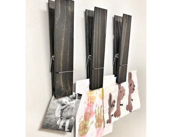 """SUPER HUGE Jumbo Rustic 12"""" Decorative Clothespin in Walnut Finish, Photo Note Holder for Home Office, Kids Drawing Display, Bathroom Hooks"""