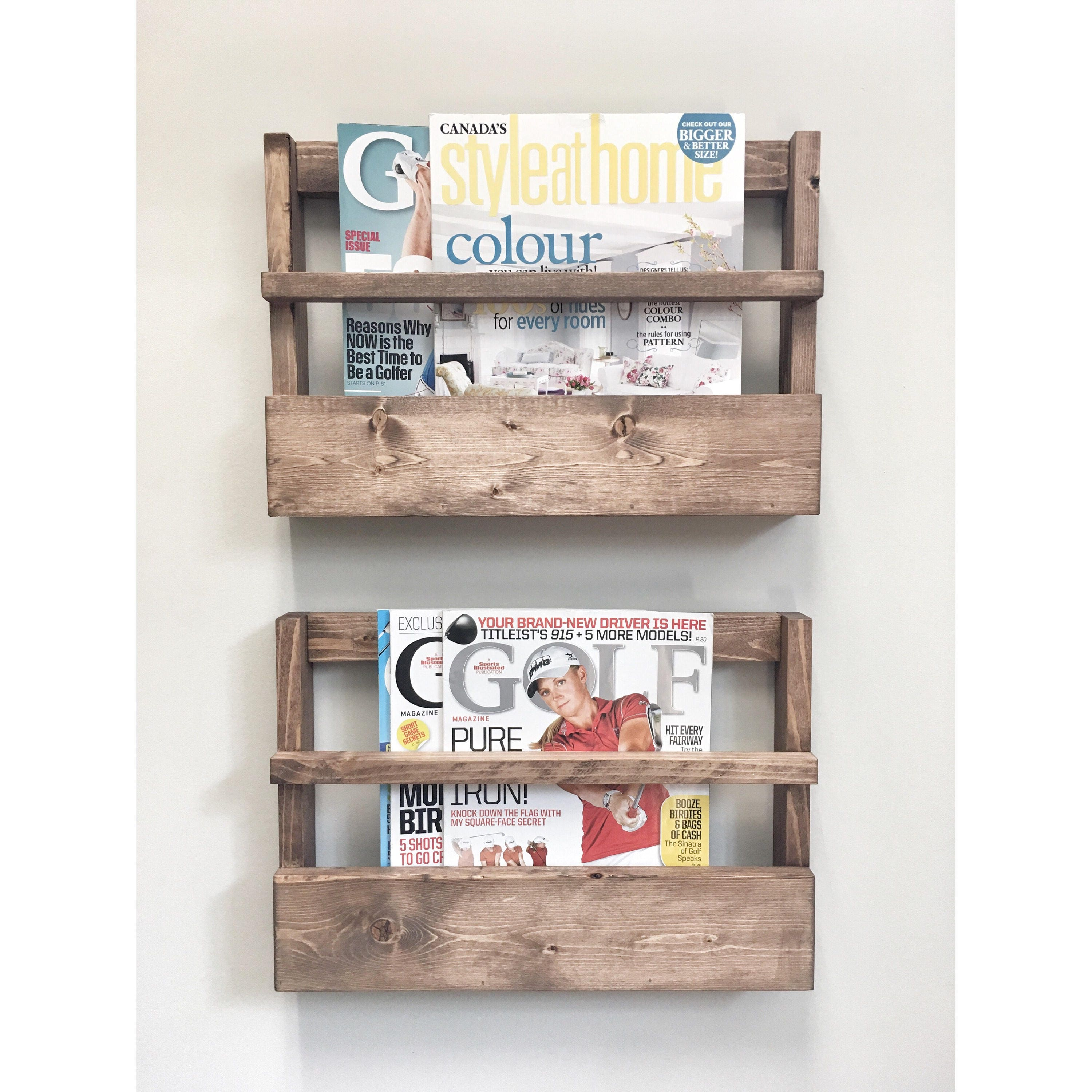 Rustic Wood Magazine Holder Magazine Storage Rack Wall Hanging Rustic Home Decor Rustic Furniture storage Newspaper Rack Office Storage  sc 1 st  Cherry Tree Gallery & Rustic Wood Magazine Holder Magazine Storage Rack Wall Hanging ...