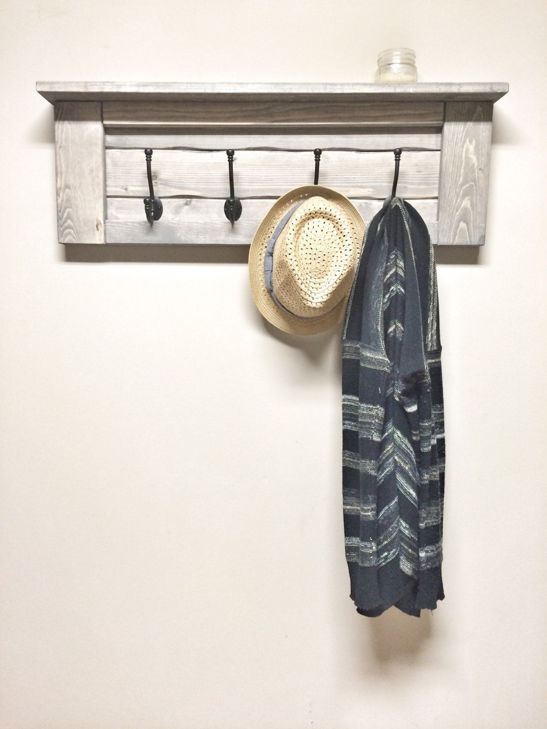 Wood Grey Entryway Coat Rack With Hooks Rustic Home Decor