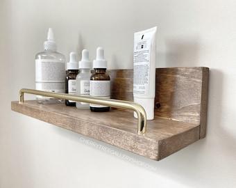 "15"" Wood Floating Shelf for Bathroom Storage for toiletries, Shelf with Bar, Farmhouse Shelf, Washroom Shelves, Above Toilet Floating Shelf"