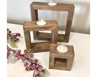 Wood Candle Centerpiece, Rustic Wedding Table Decoration, Wooden Candle Holder, Tea Light Holder, Table Christmas Decor, Home Decorations