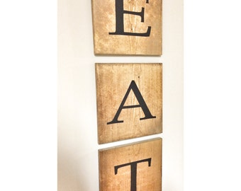 Rustic EAT Wooden Tile Letter Home Decor Wood Wall Farmhouse Art Sign, Wall Hanging, Kitchen Shabby, housewarming gift