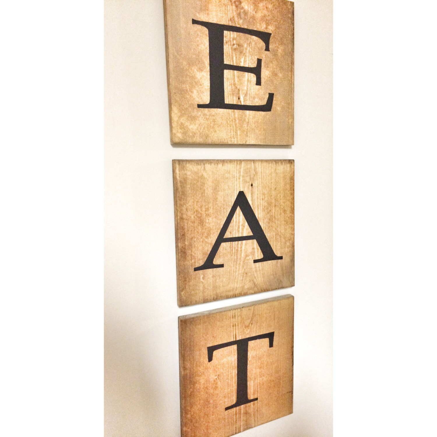 Rustic EAT Wooden Tile Letter Home Decor Wood Wall Farmhouse Art ...