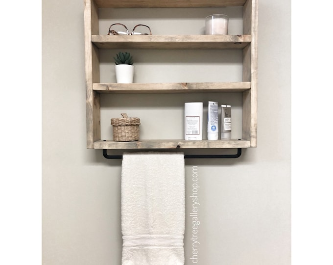 Floating Shelf for Bathroom Storage and to Hang Towels, Shelf with Towel Bar, Rustic Farmhouse Shelf, Washroom Storage, Wall Cabinet