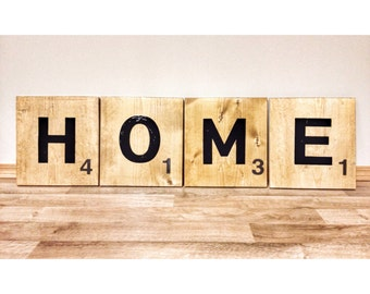 """12"""" Giant Jumbo Scrabble Tile Letters HOME wooden wall decor sign words - farmhouse decor, personalized wedding gift, anniversary gift"""