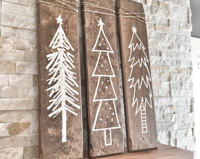 Set of 3 Rustic Wooden Christmas Trees, Xmas Wood Tree Decoration for Holiday Season, Christmas Holiday Gift and Present, Rustic Christmas